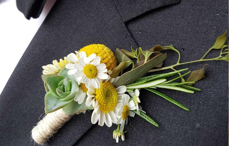 Bottoniera sposo con camomilla, echeveria, craspedia e rosmarino